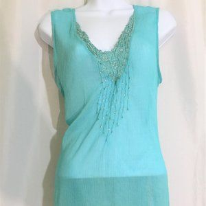Tops - Sheer Aqua Blue V Neck Sleeveless Top Size L